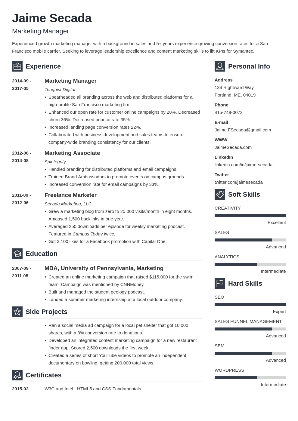 marketing manager resume example template vibes