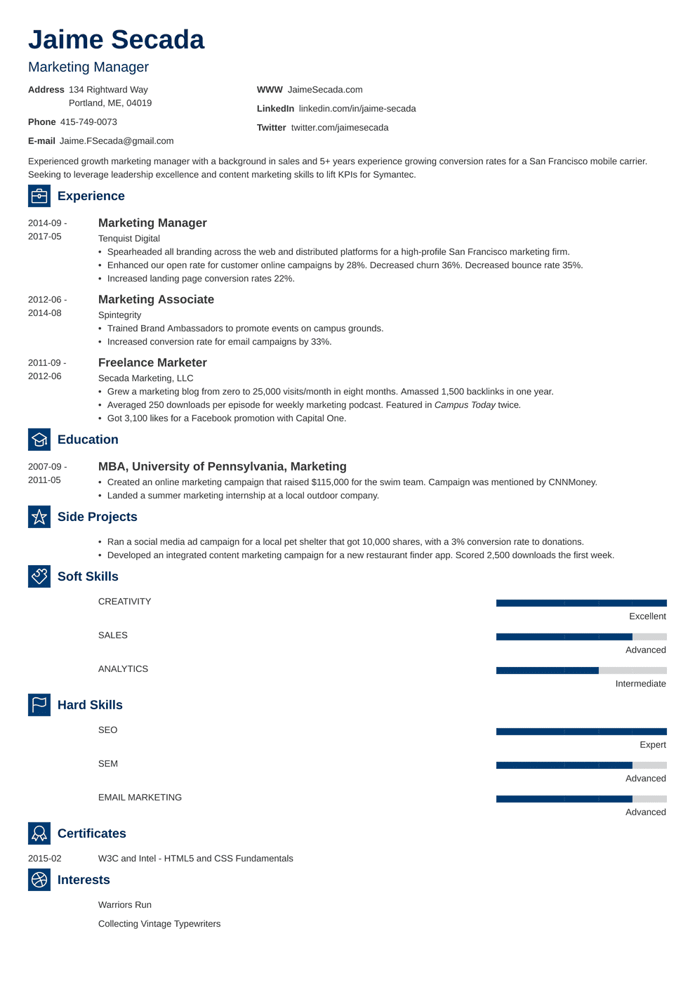 Marketing Resume Sample Complete Guide 20 Examples