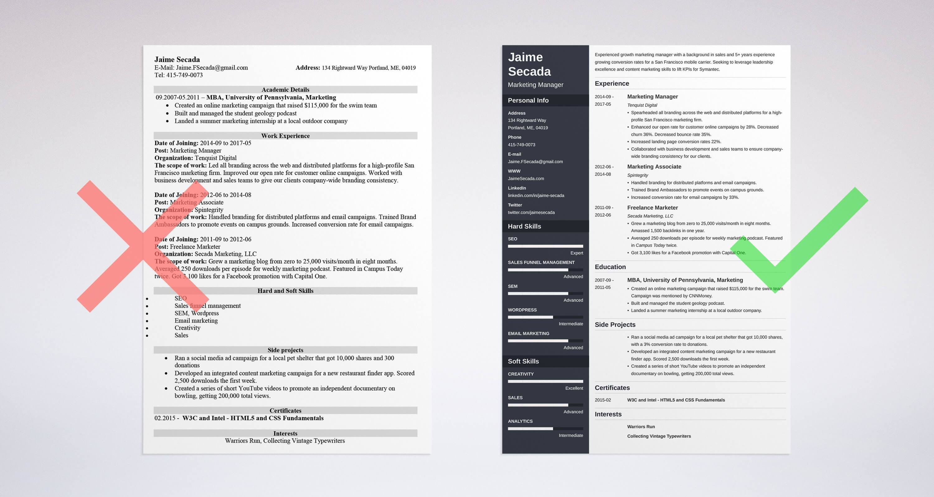 Bad And Good Examples For How To Write A Resume