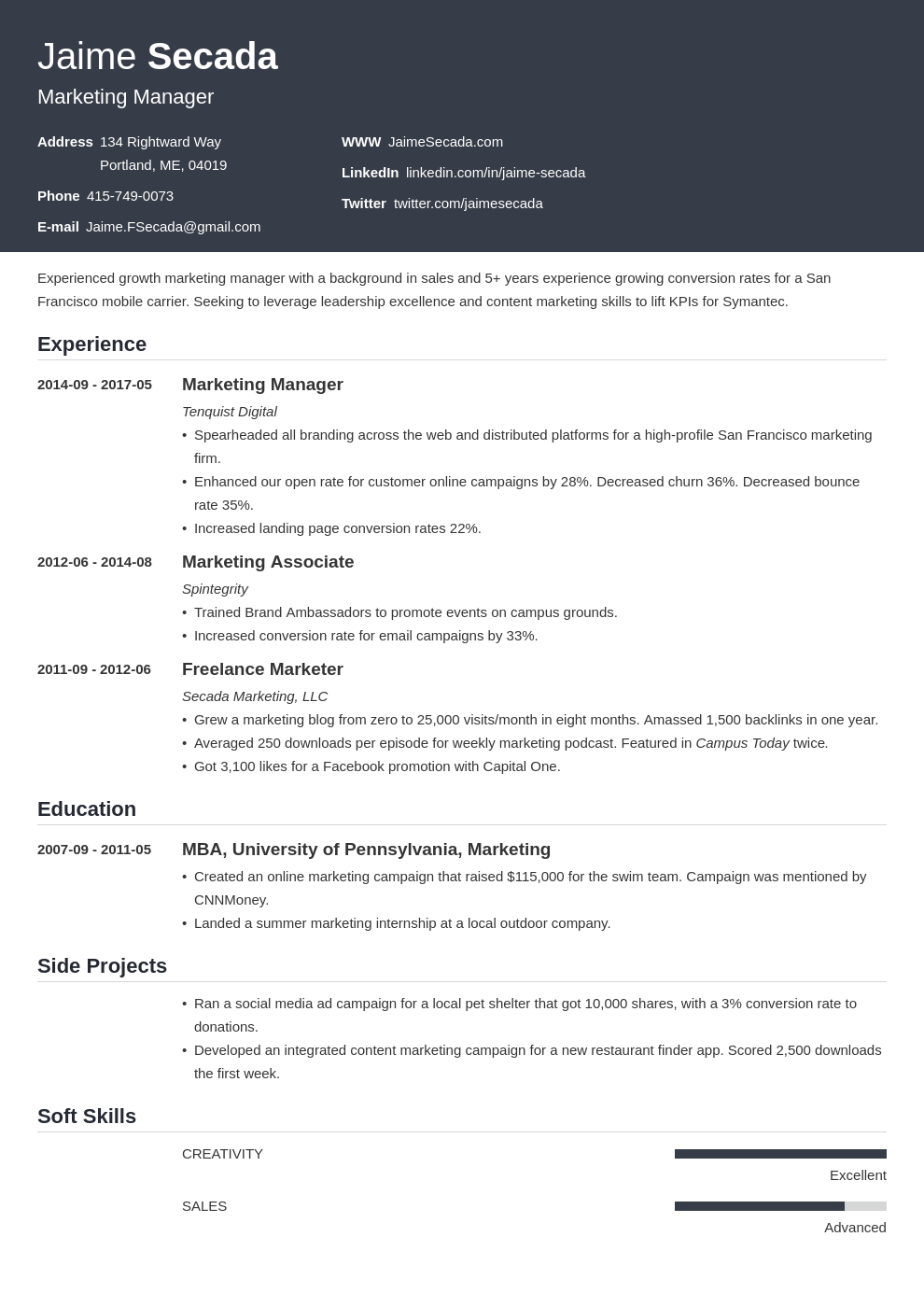 marketing resume template influx