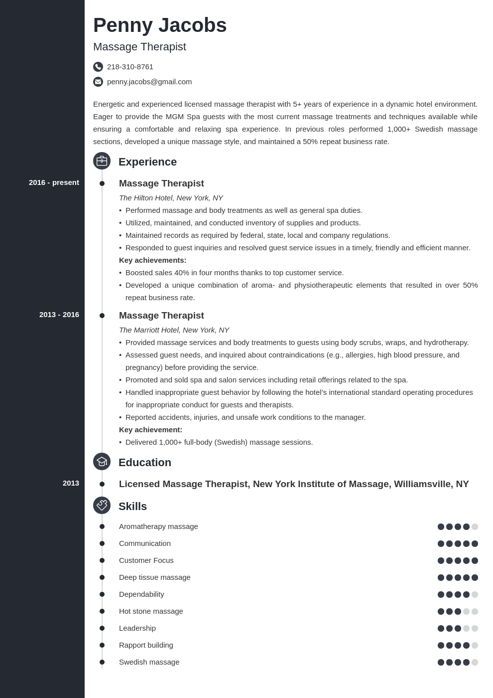 massage therapist resume example template concept
