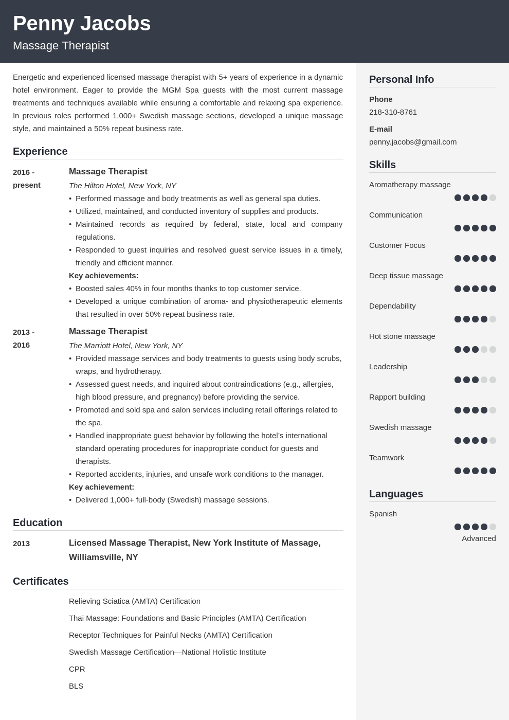 massage therapist resume example template cubic