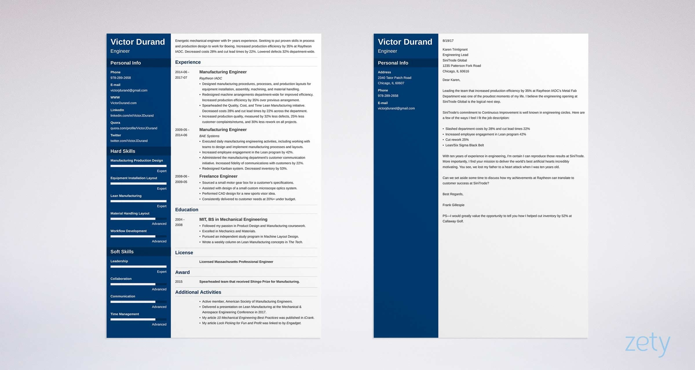 matching set of engineering resume cover letter