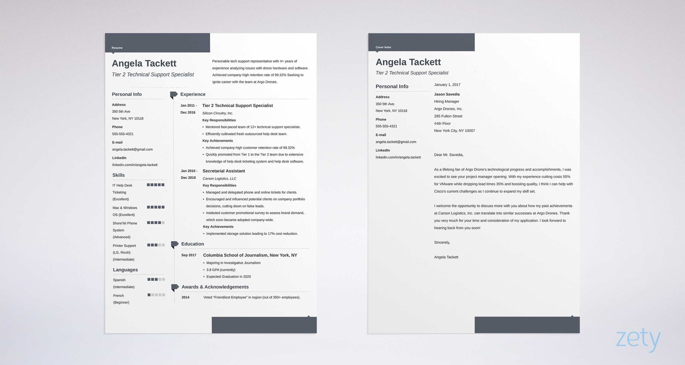 matching set of cv and cover letter