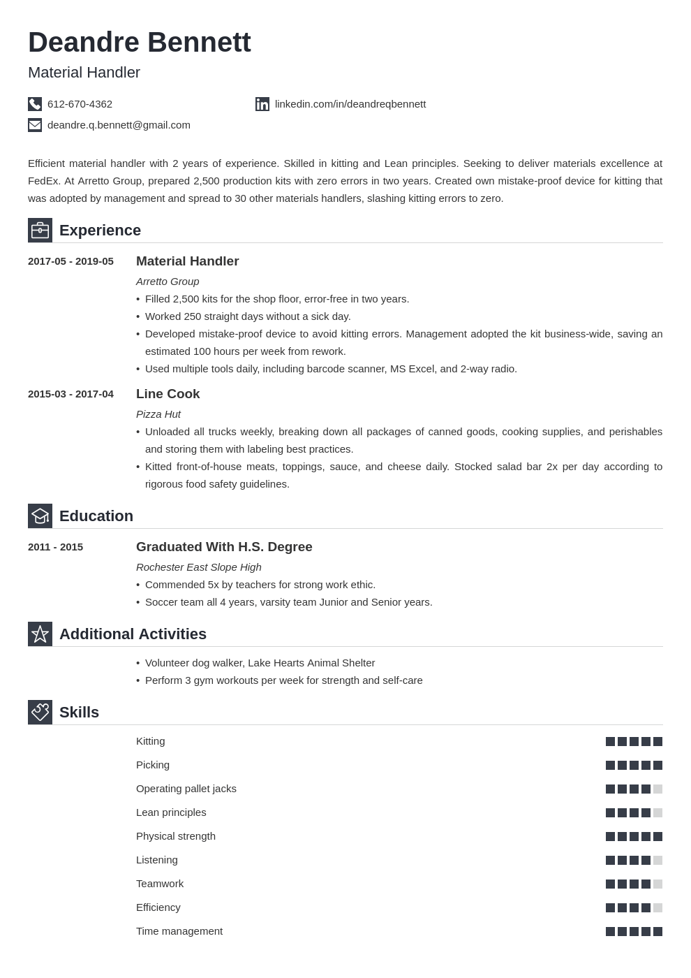 material handler resume example template iconic