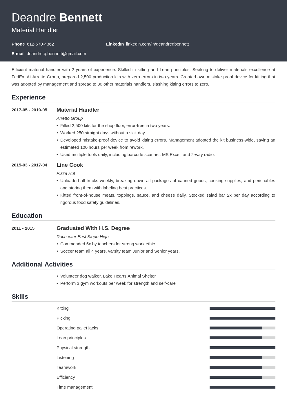 material handler resume example template influx