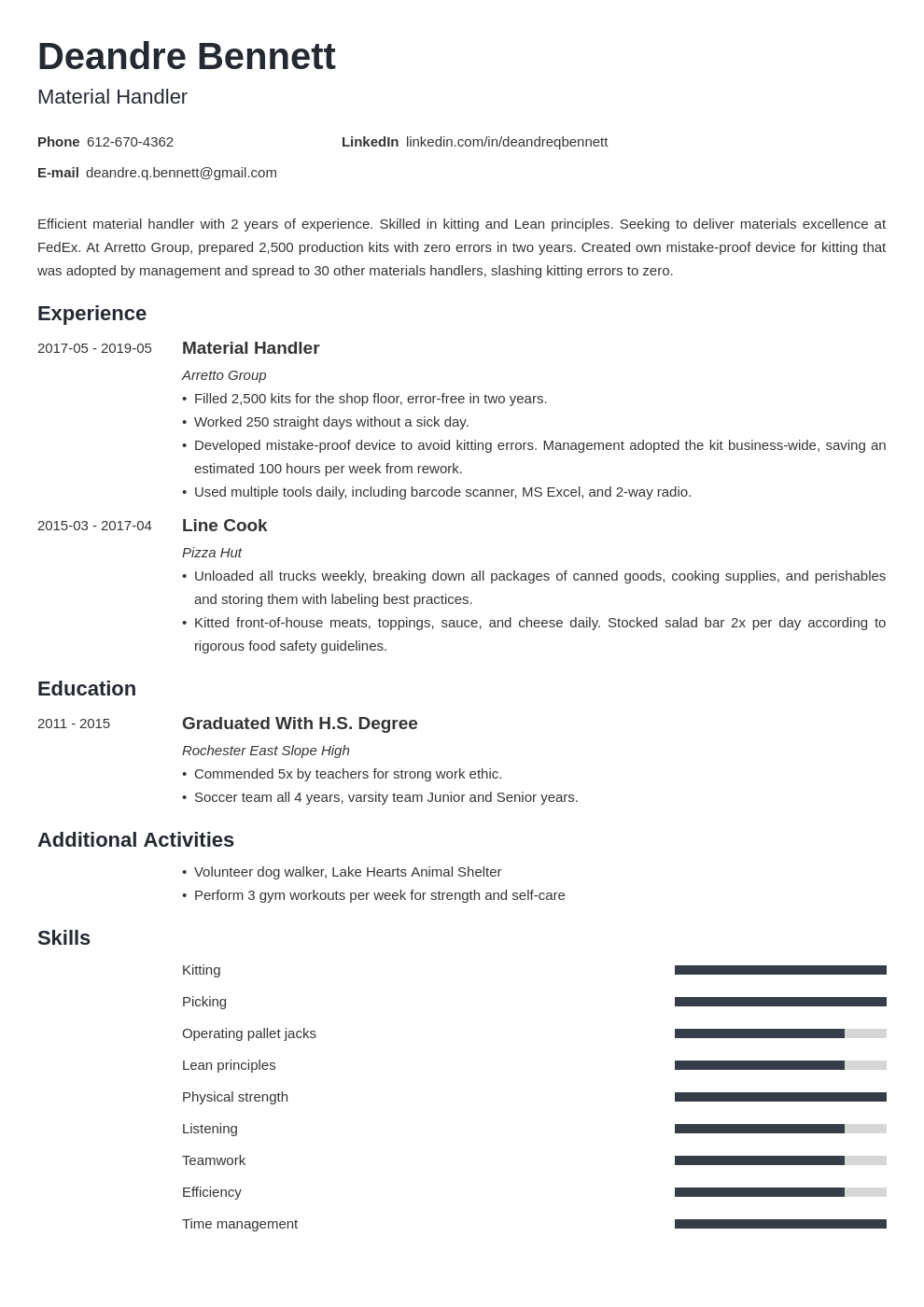 material handler resume example template minimo