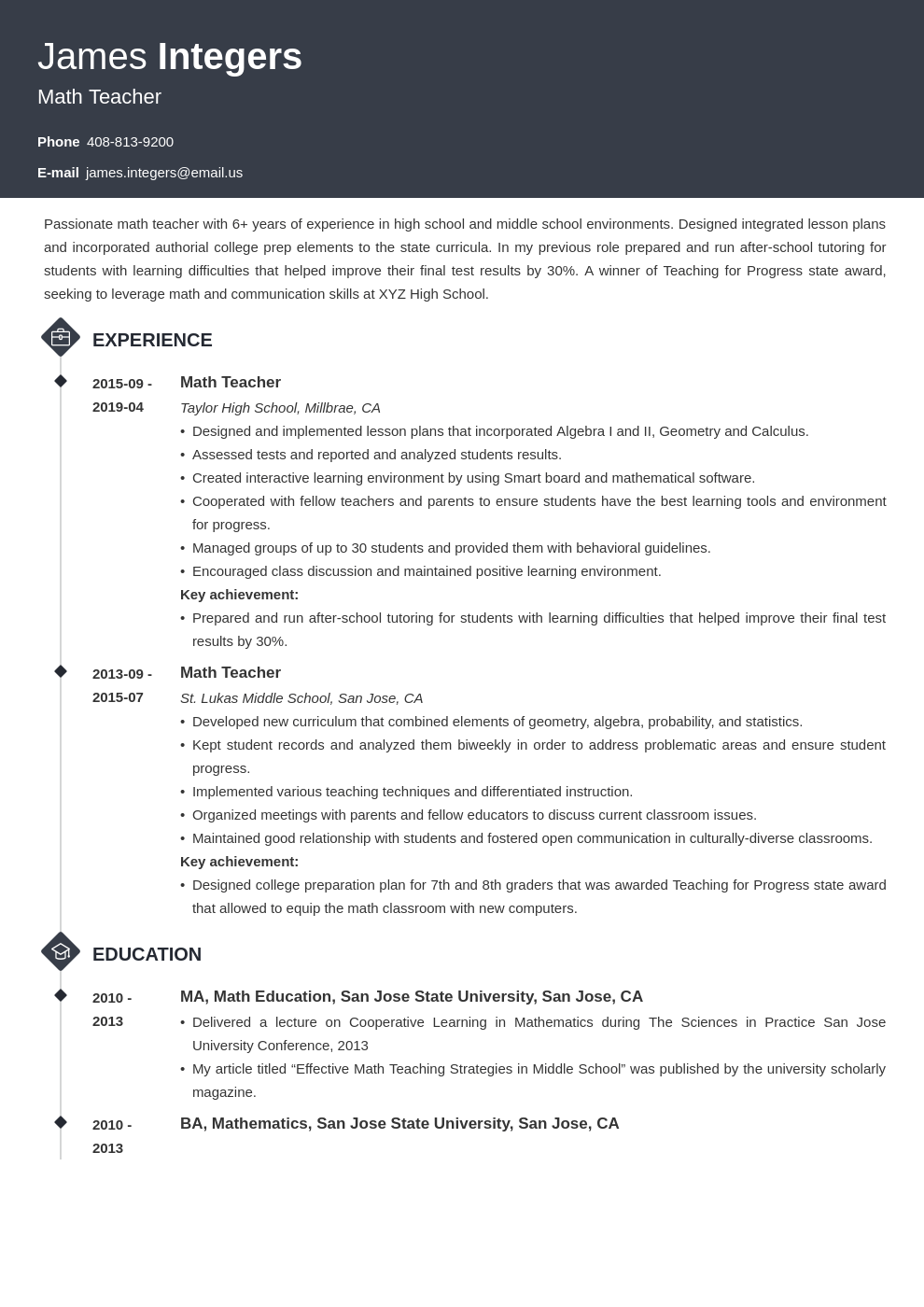 Math Teacher Resume Examples Writing Guide Skills