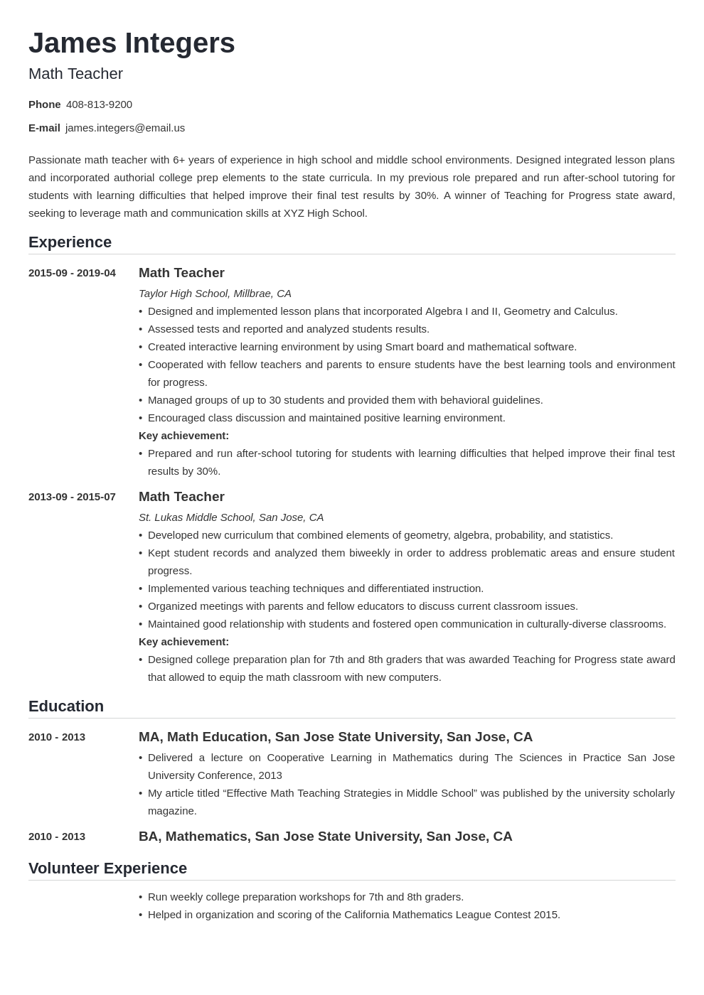 math teacher resume  examples  u0026 writing guide   skills