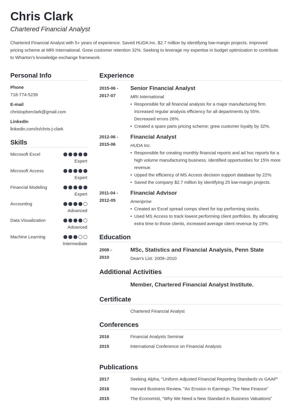 mba resume example template simple