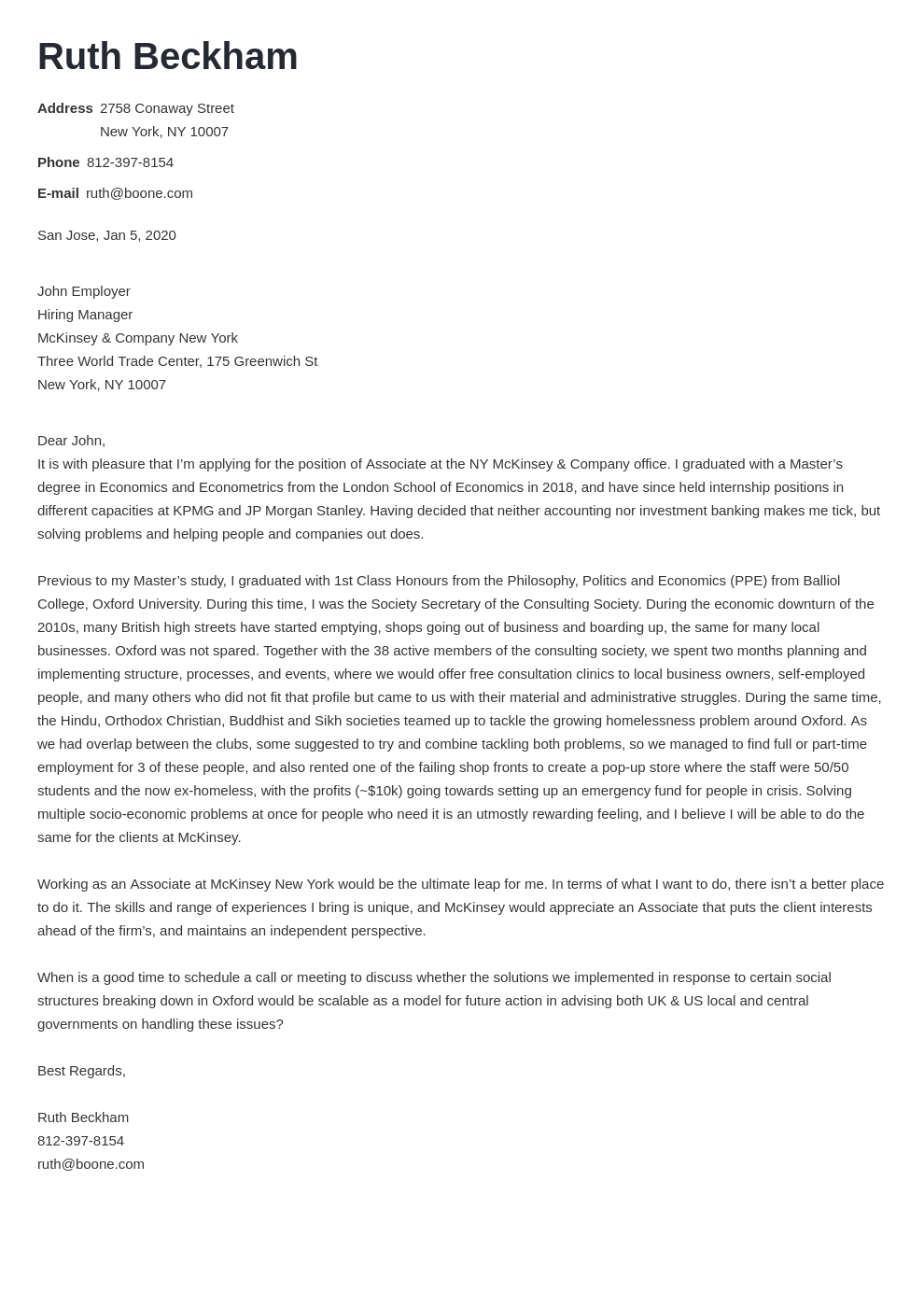 Mckinsey Cover Letter Sample And Writing Tips 10 Examples