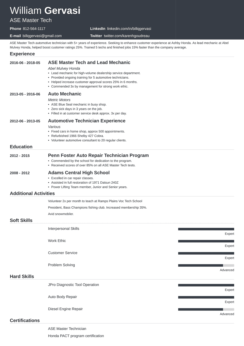 Mechanic Resume Sample Complete Writing Guide 20 Examples