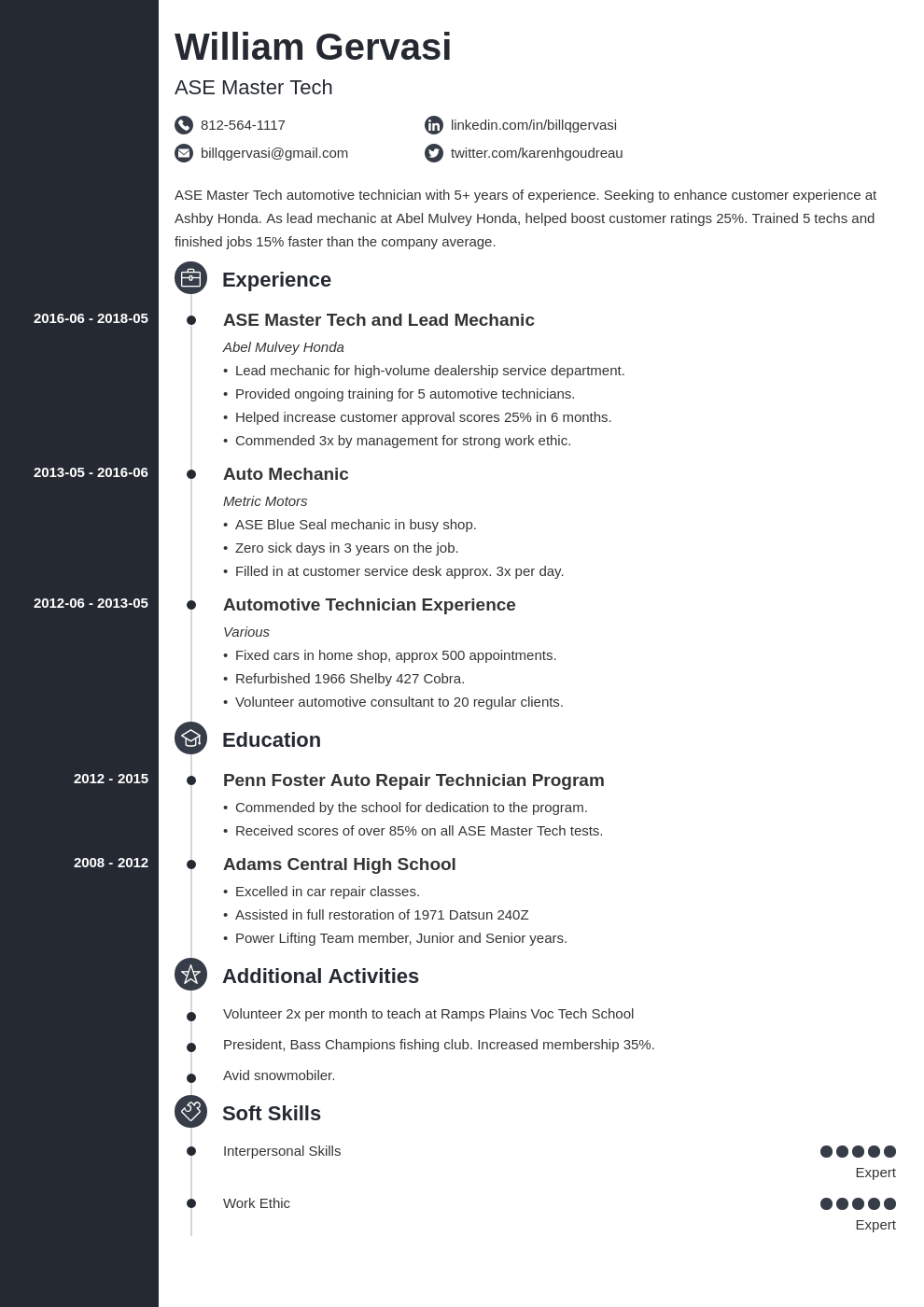 mechanic resume example template concept