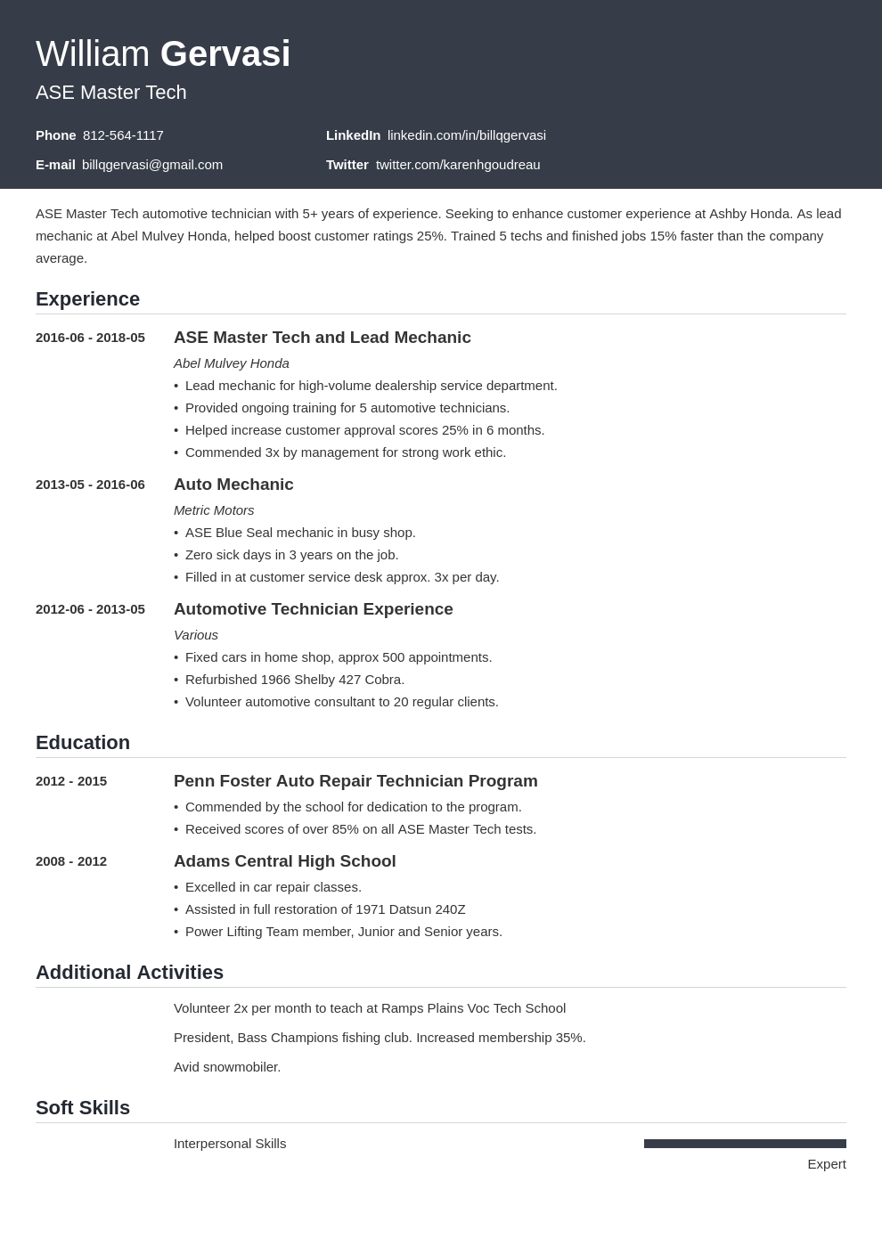 mechanic resume example template influx