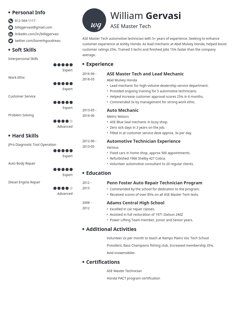 mechanic resume example template initials