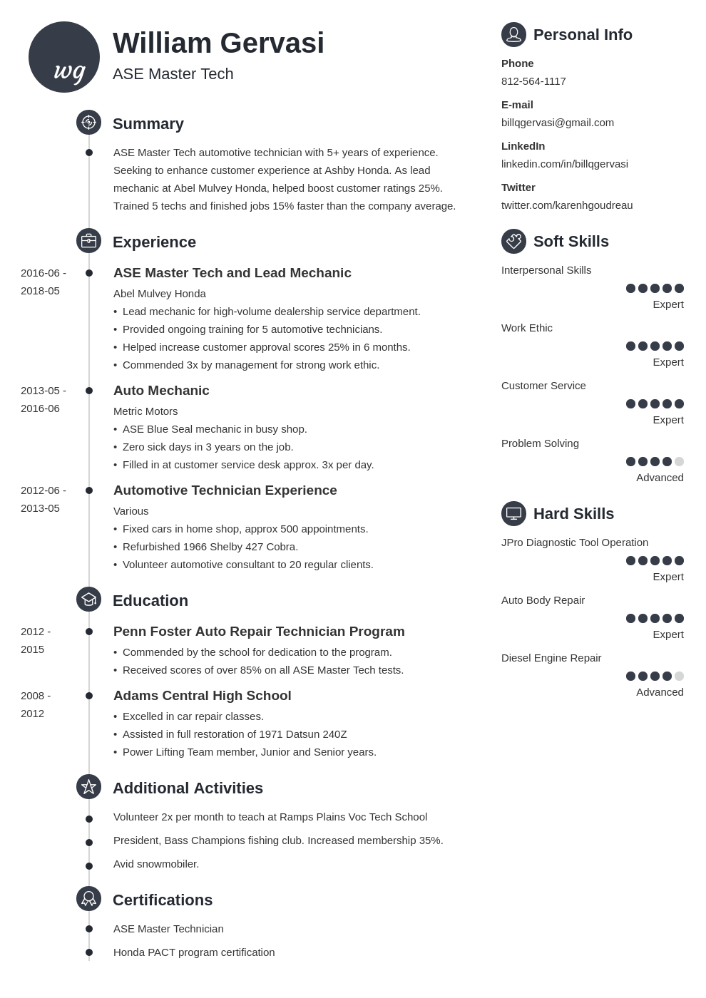 mechanic resume example template primo