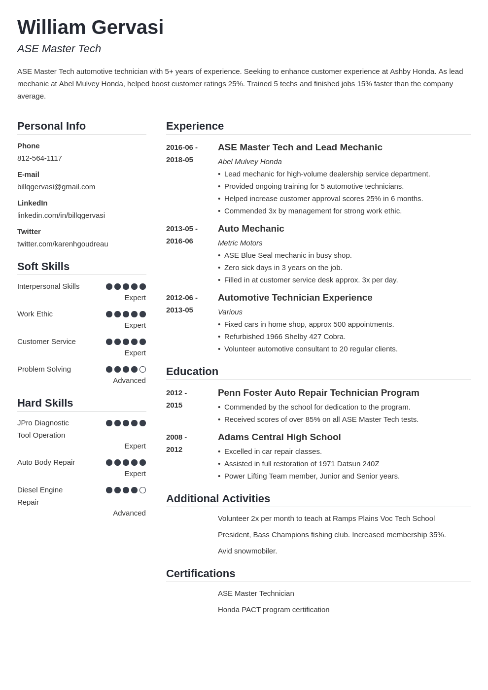 mechanic resume example template simple