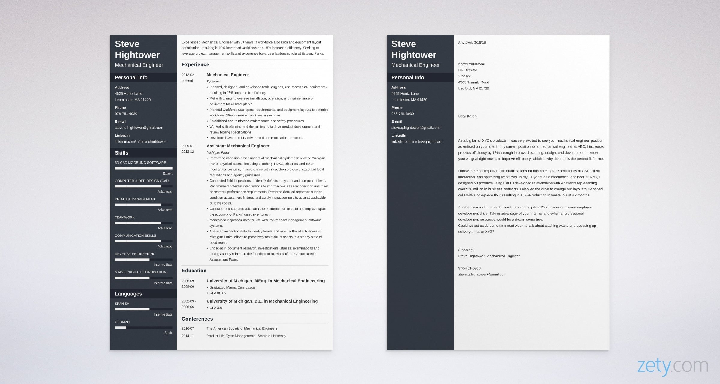 mechanical engineer resume and cover letter set