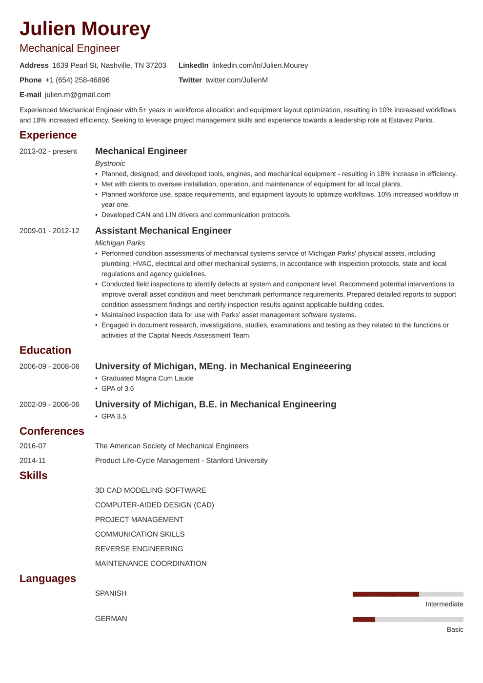 Mechanical Engineering Resume Sample & Guide [20 Examples]