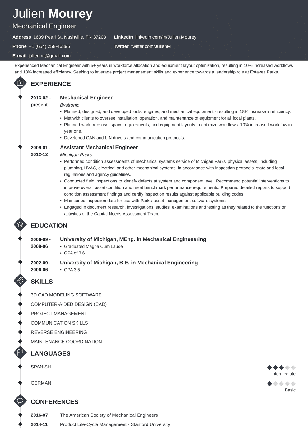 Mechanical Engineer Resume Example.Mechanical Engineering Resume Sample Guide 20 Examples