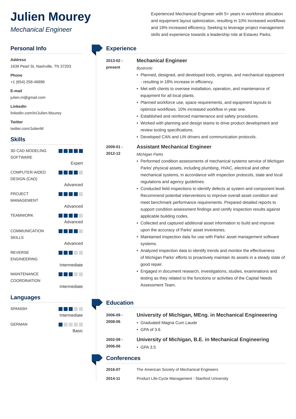 Mechanical Engineering Resume Sample Guide 20 Examples