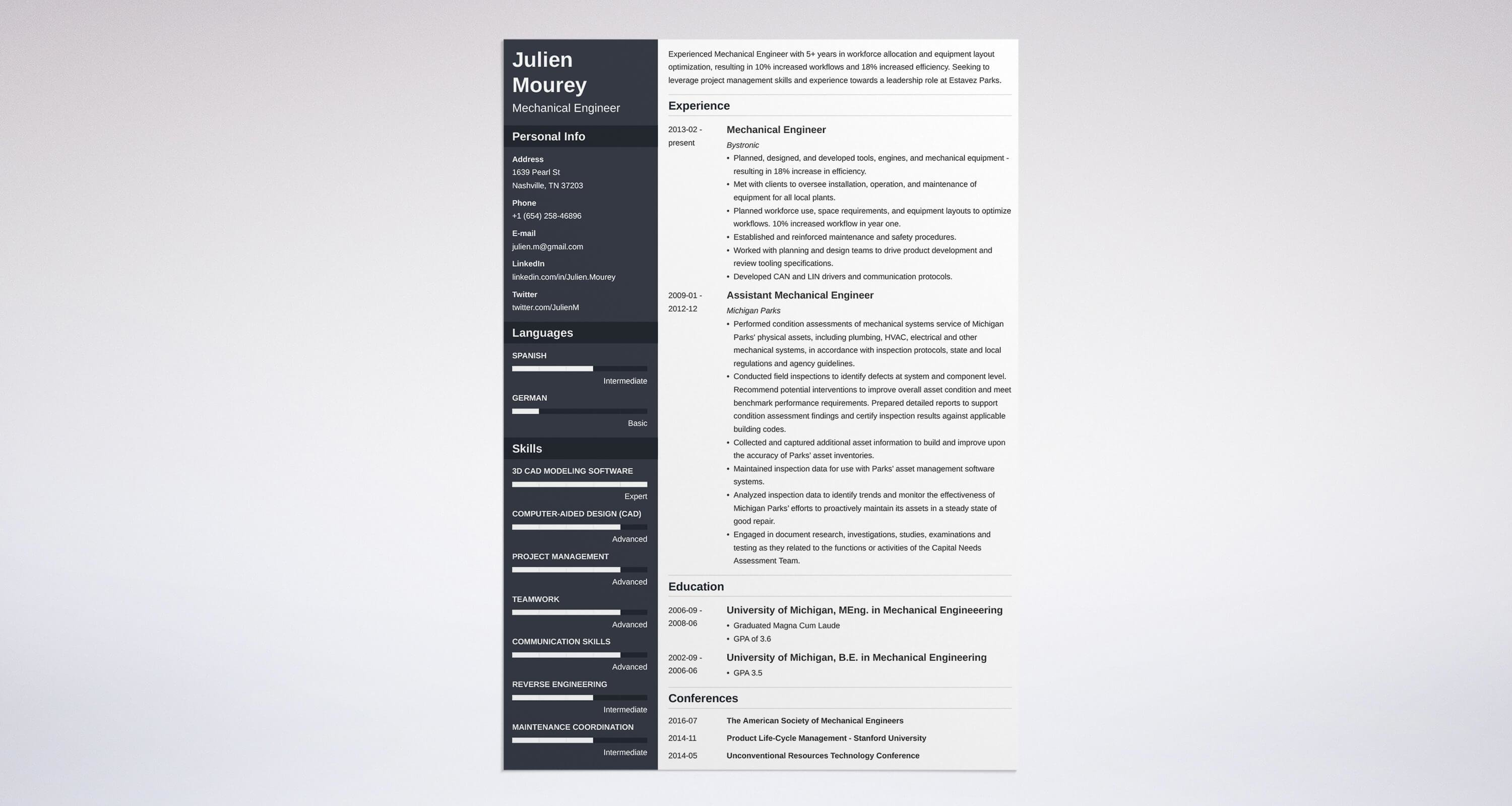 Uptowork Idea Mechanical Engineer Resume