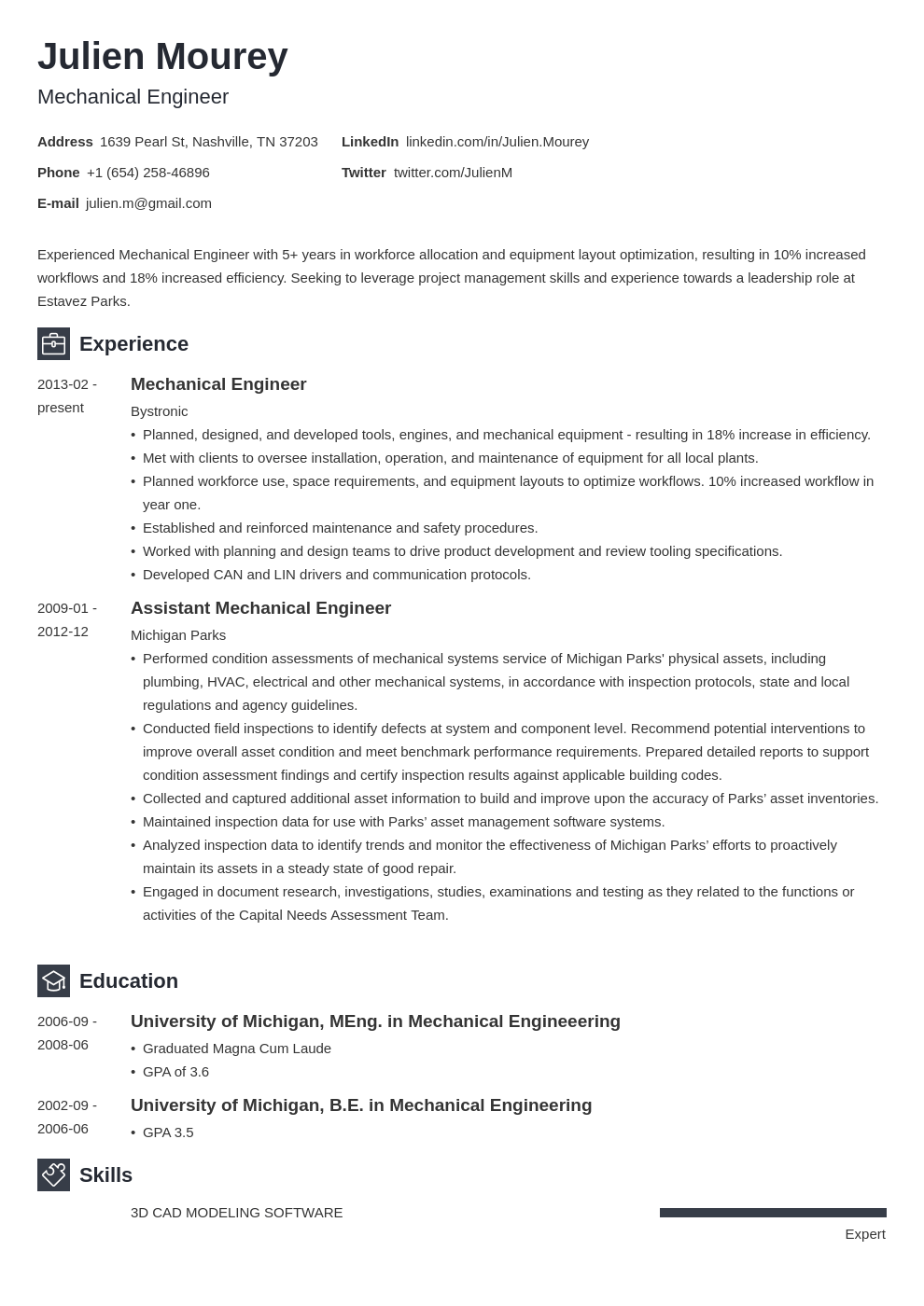 mechanical engineering resume template newcast