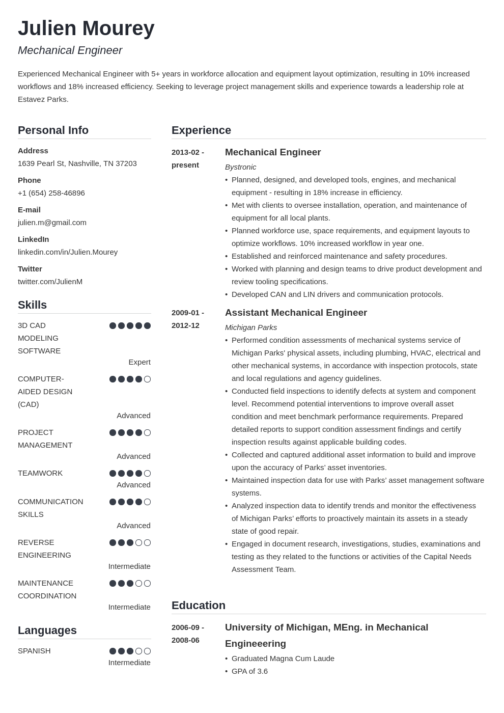 mechanical engineering resume template simple