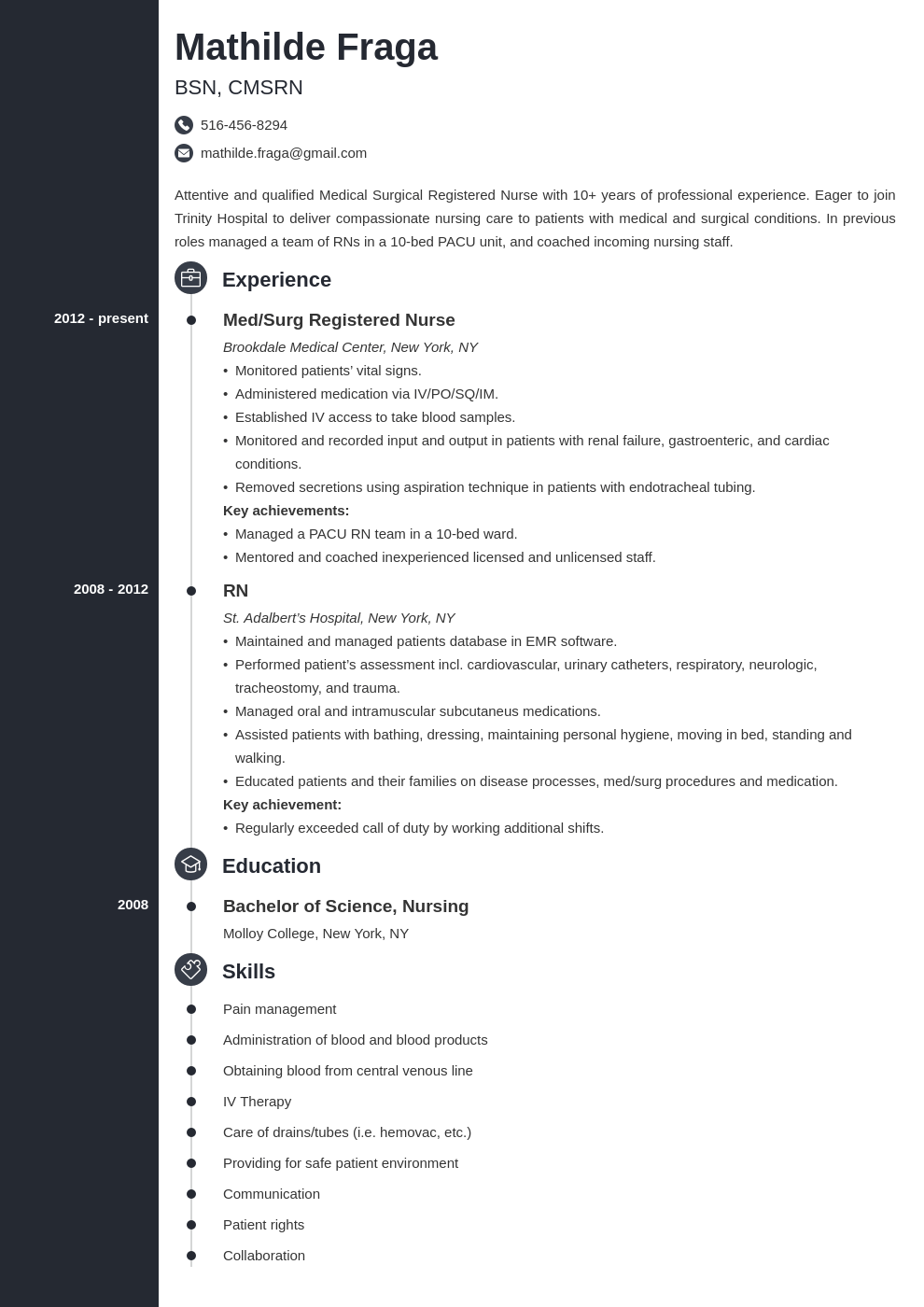 med surg nurse resume example template concept