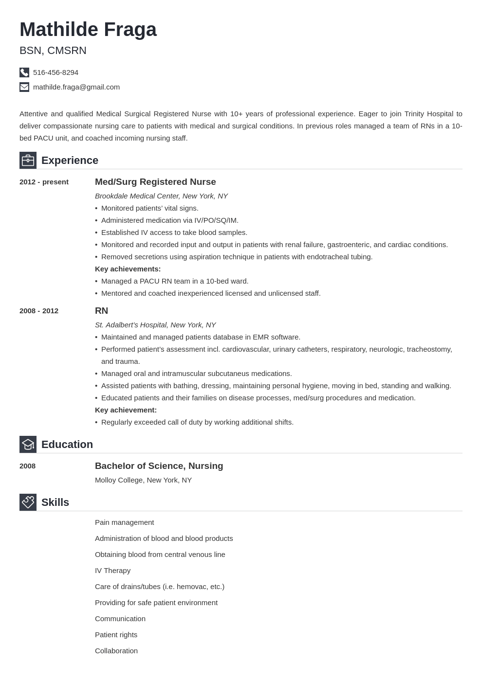 med surg nurse resume example template iconic