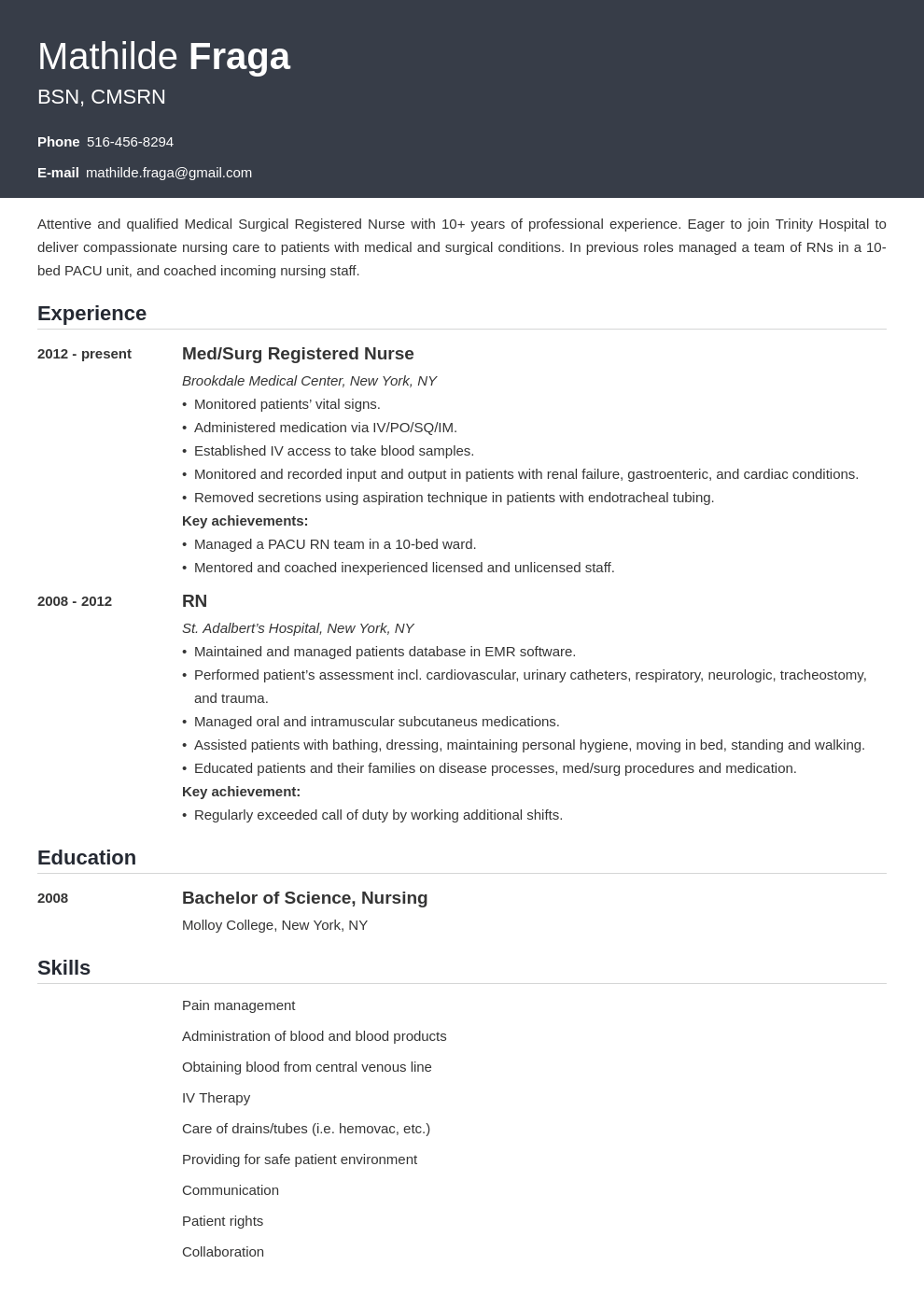 med surg nurse resume example template influx