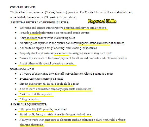Here's an example of a bartender server job description with the skills  highlighted:
