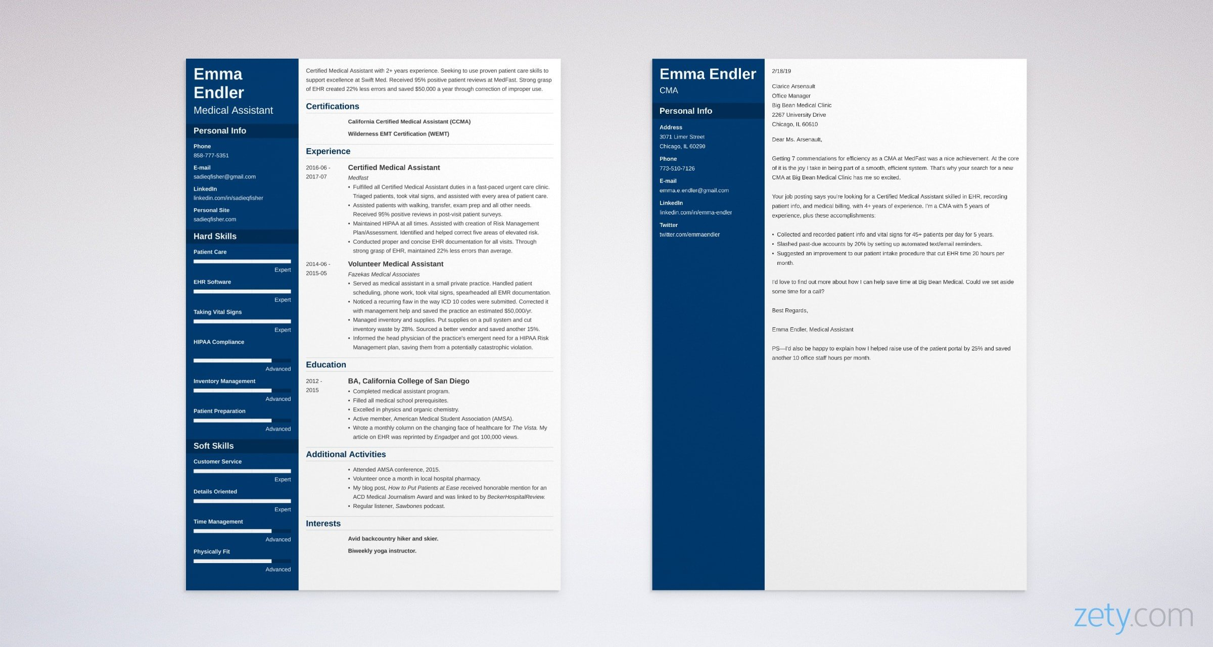 medical assistant resume and cover letter set