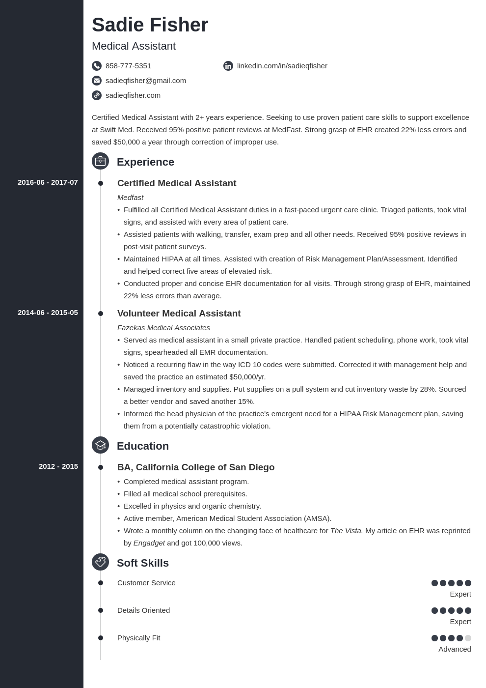 medical assistant resume example template concept