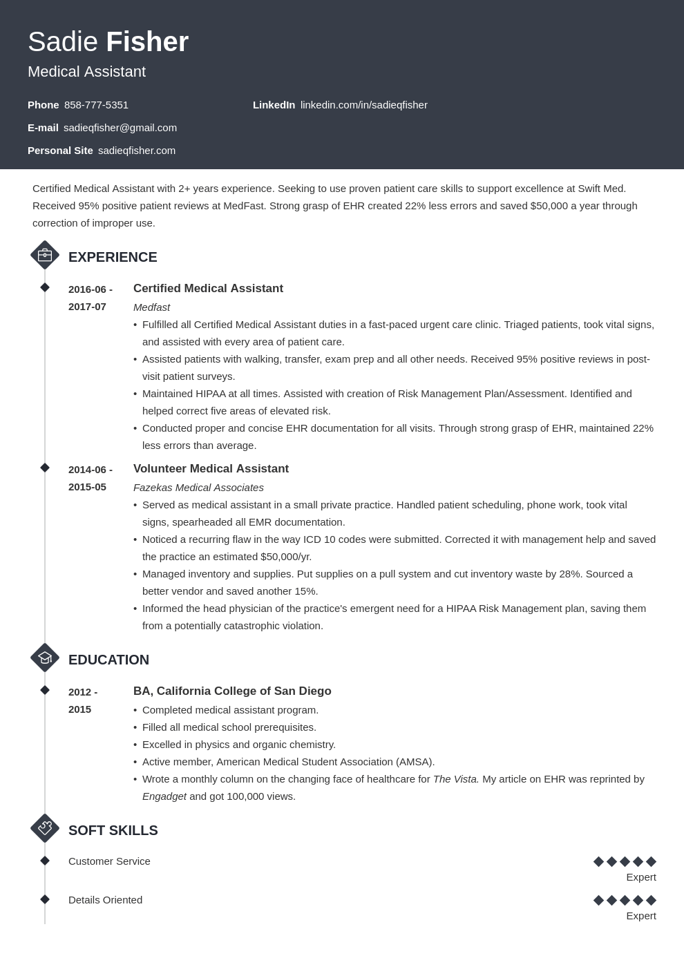 medical assistant resume example template diamond