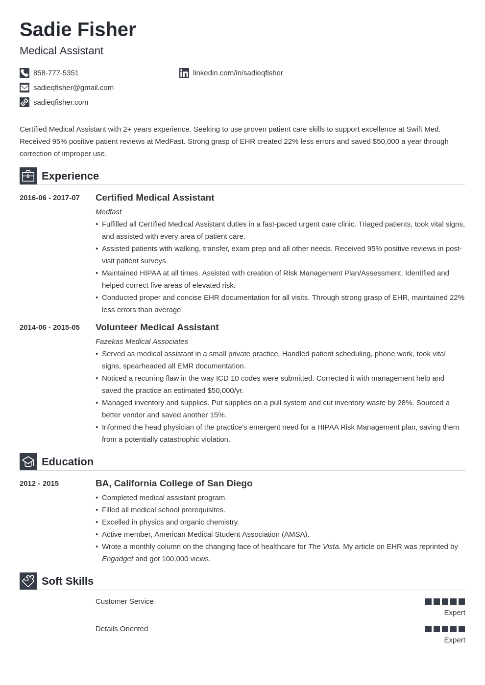 medical assistant resume examples  duties  skills  u0026 template