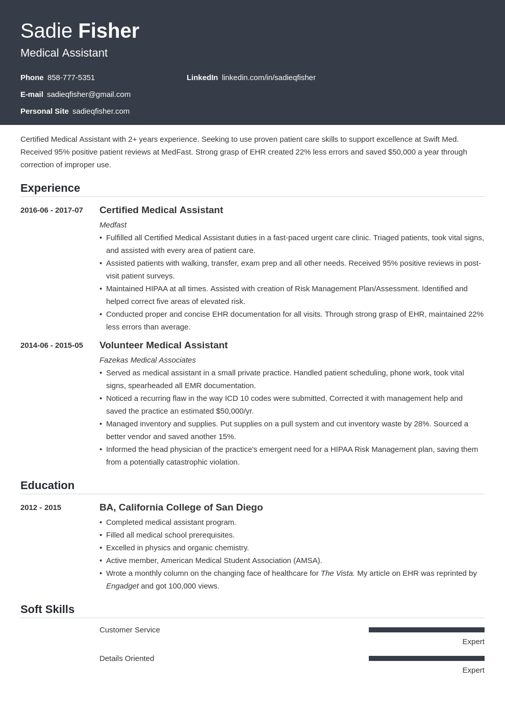 medical assistant resume example template influx