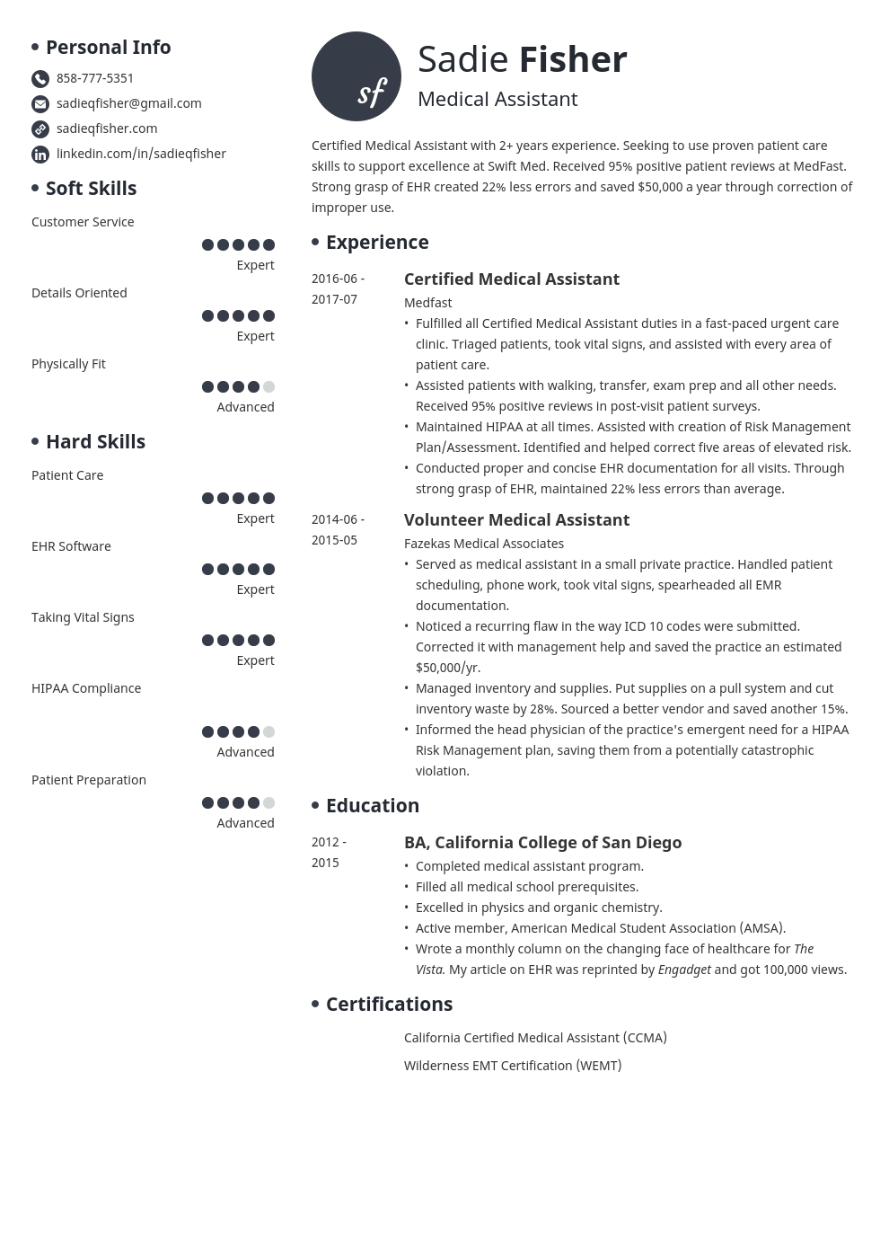 medical assistant resume example template initials