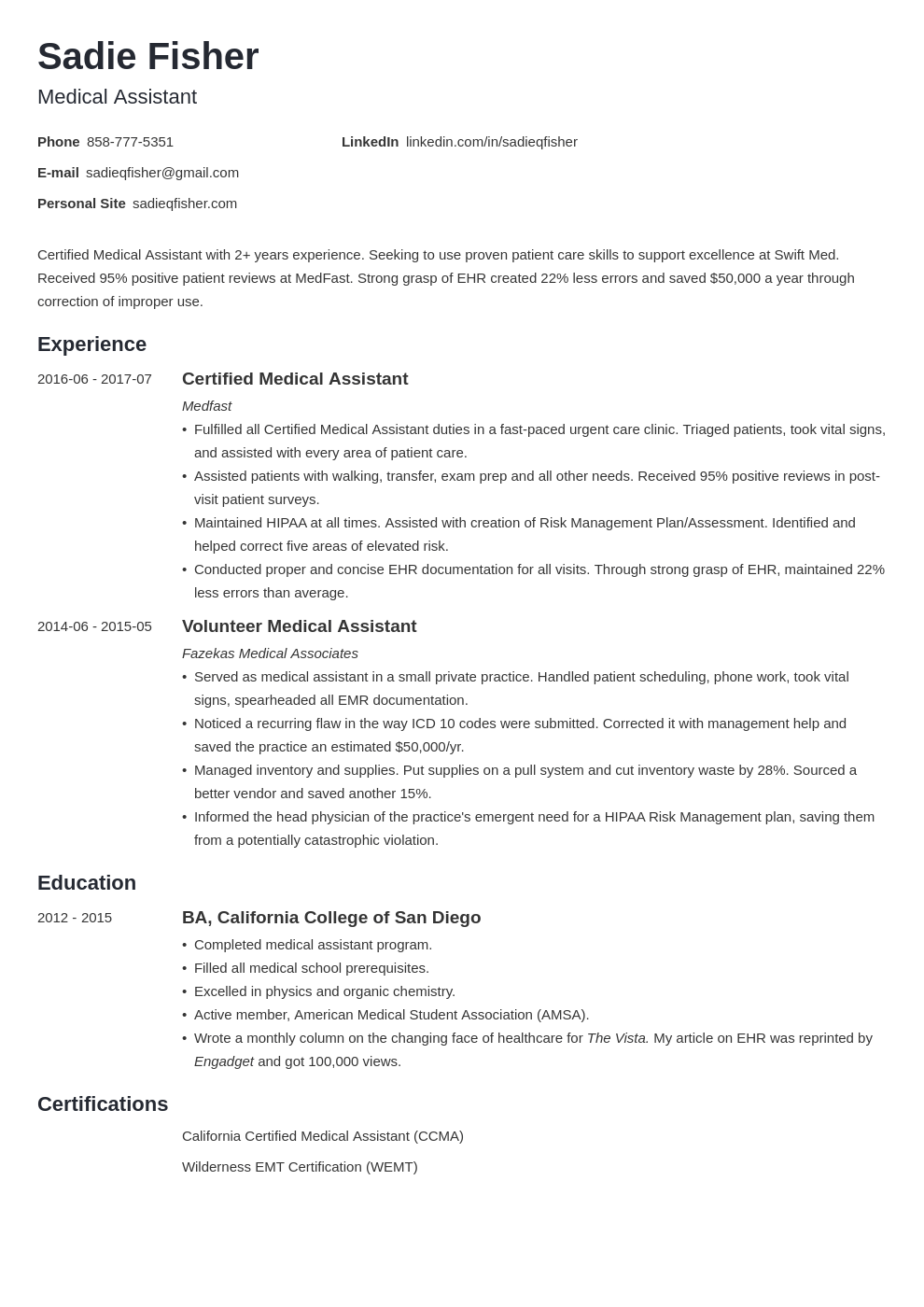 medical assistant resume example template minimo