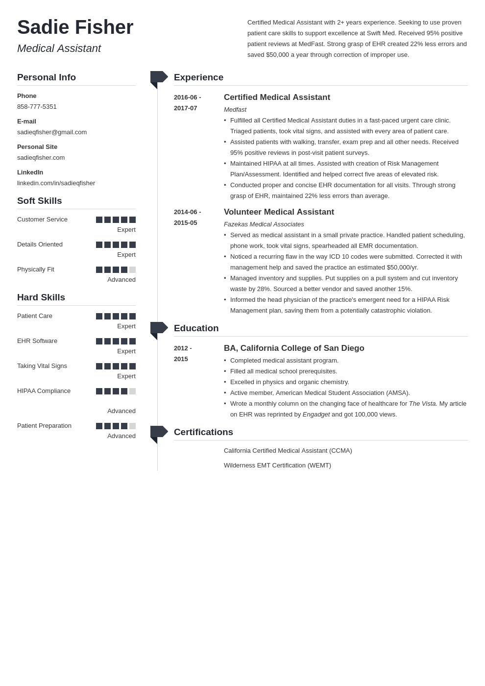 medical assistant resume example template muse