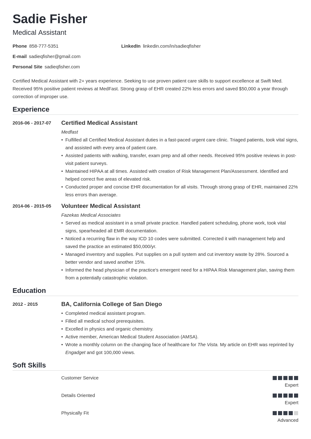 medical assistant resume example template nanica
