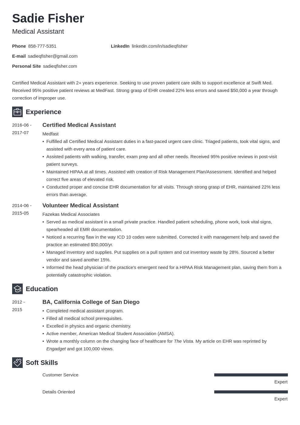 medical assistant resume example template newcast