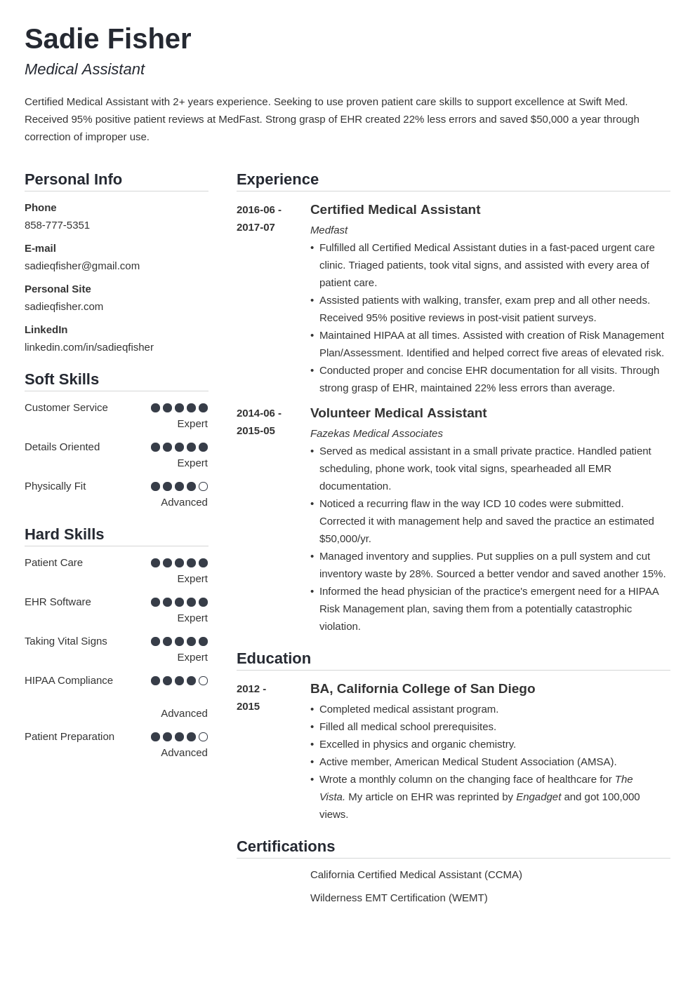medical assistant resume example template simple