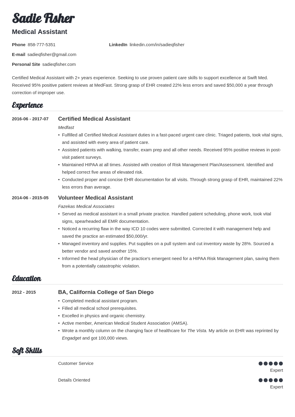 Medical Assistant Resume Examples Duties Skills Template