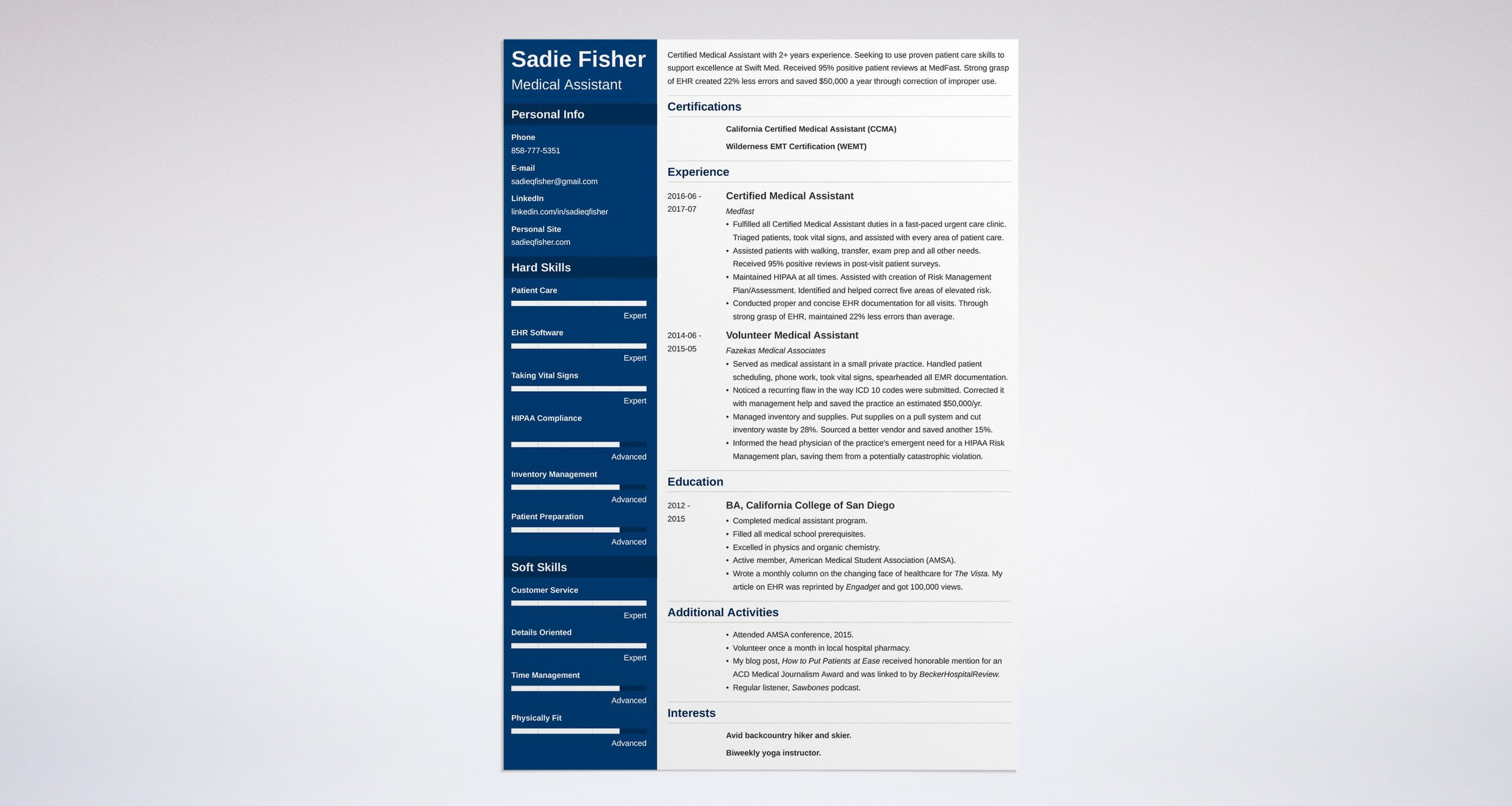 Medical Assistant Resume Sample  Complete Guide  Examples