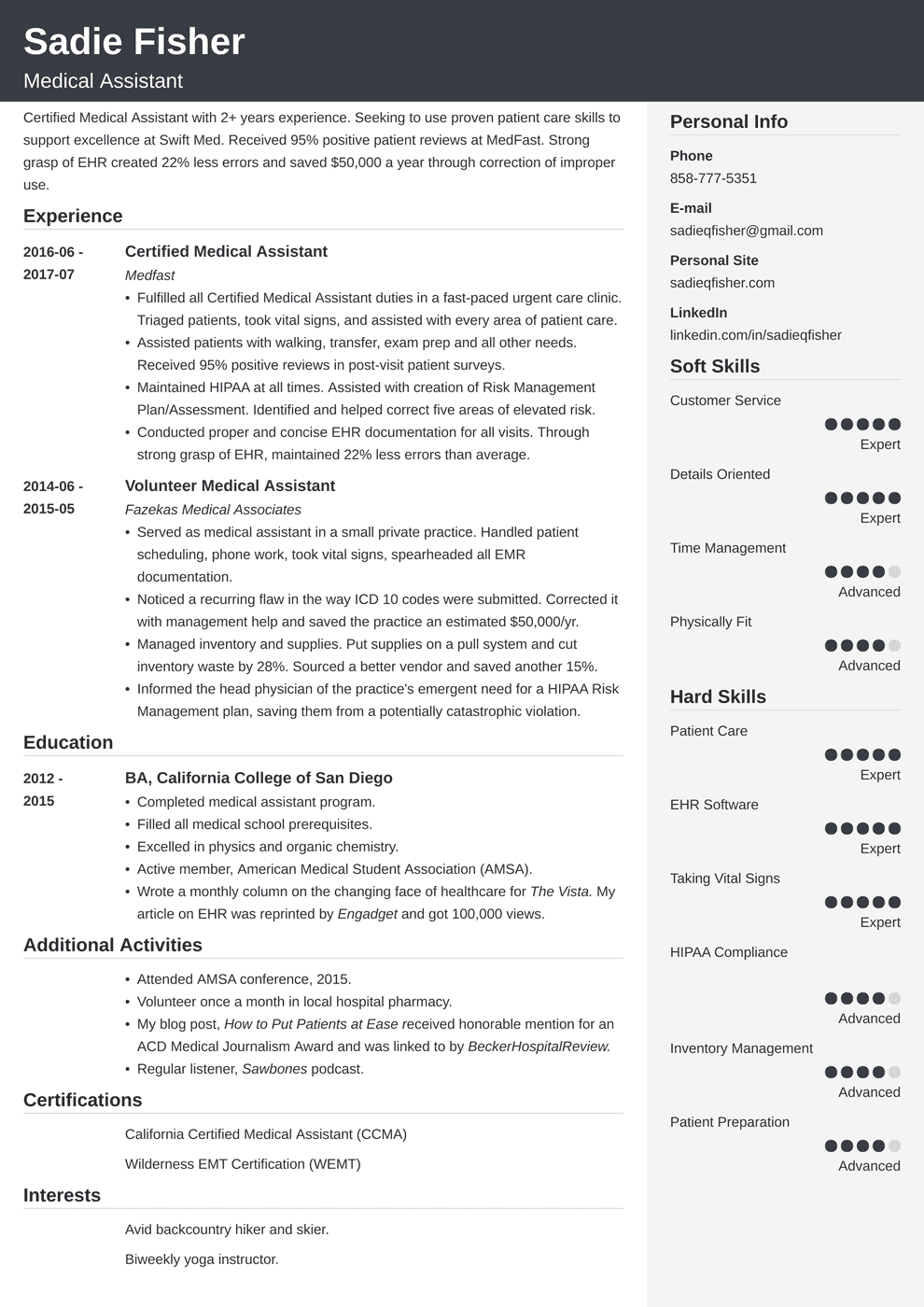 resume for a medical assistant