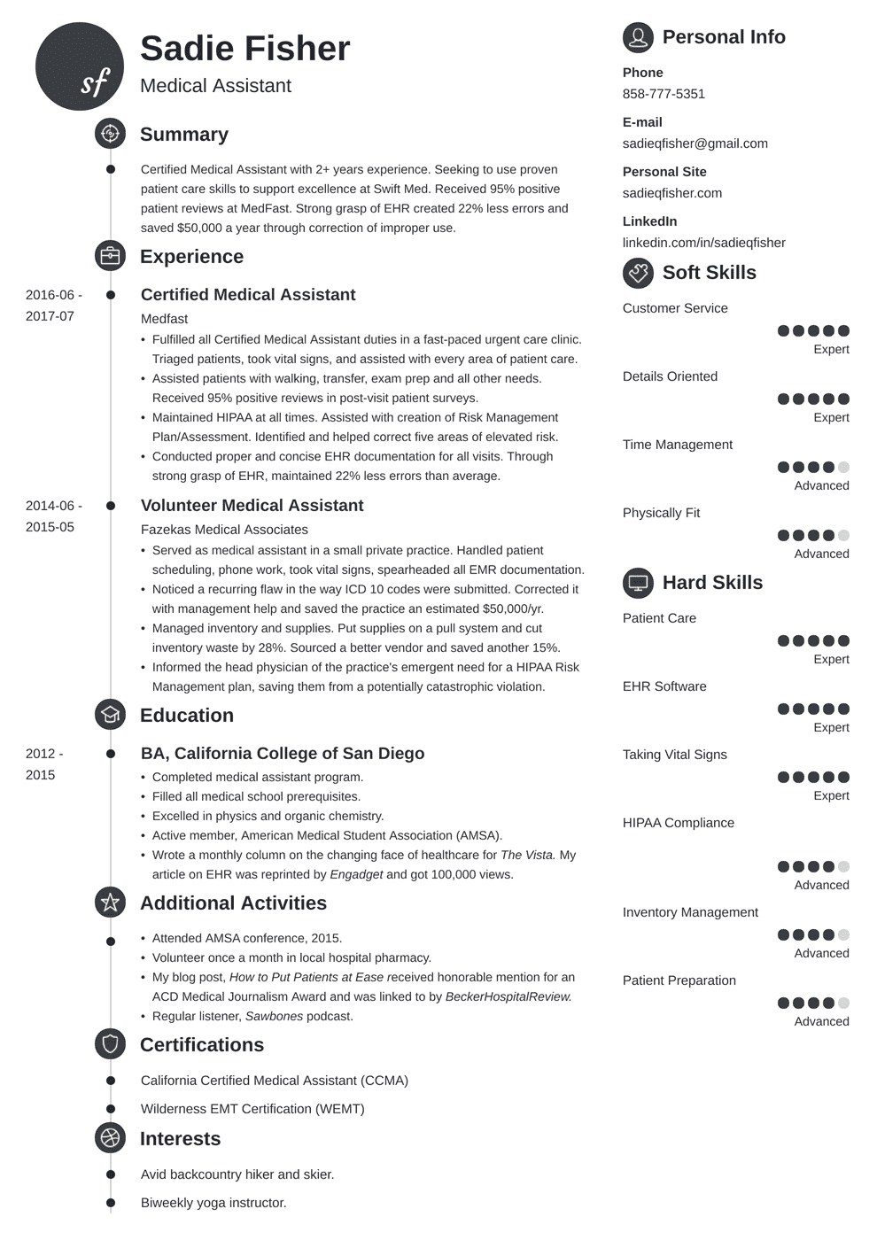 Medical Assistant Resume Sample Complete Guide 20 Examples