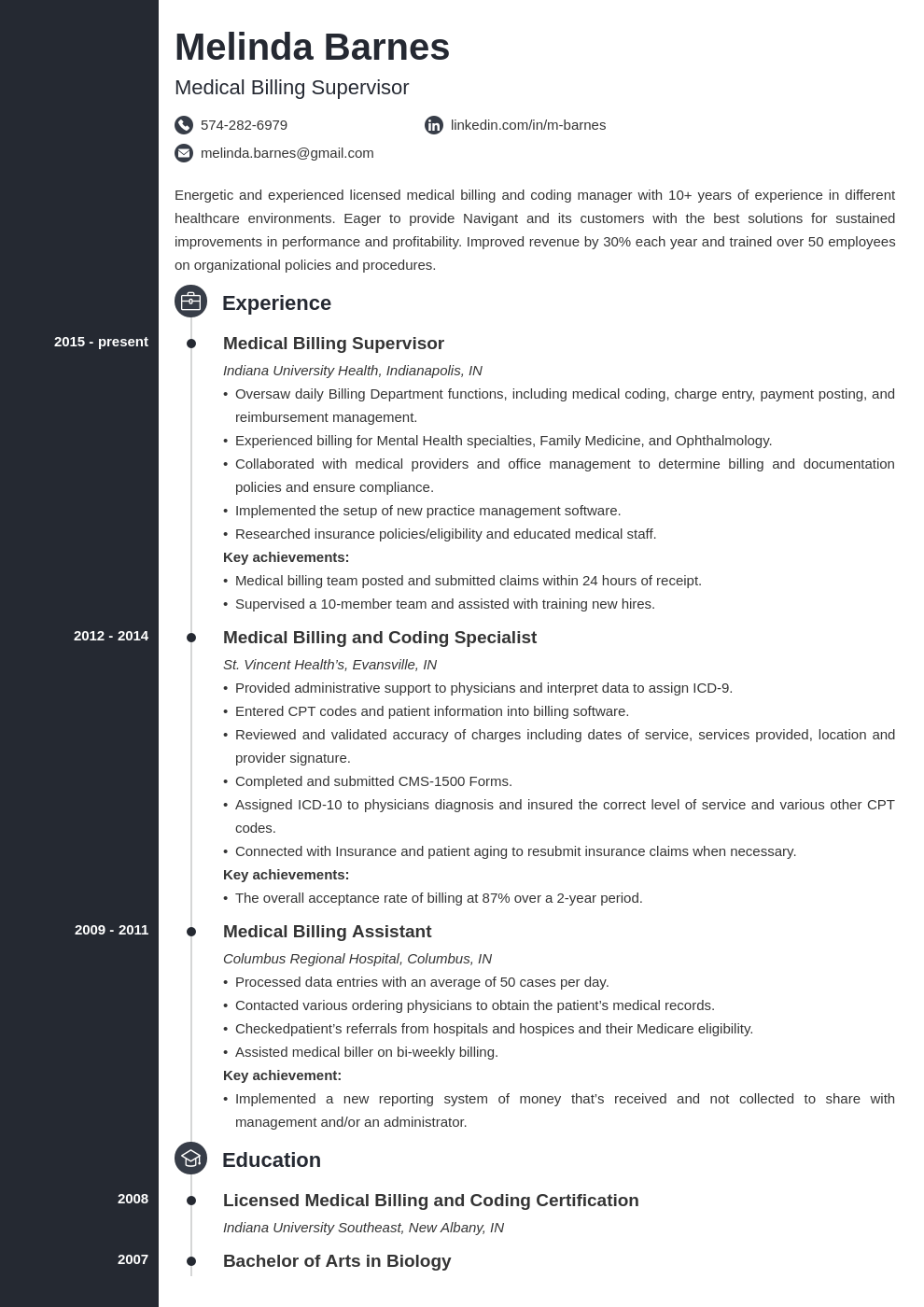 medical billing resume example template concept