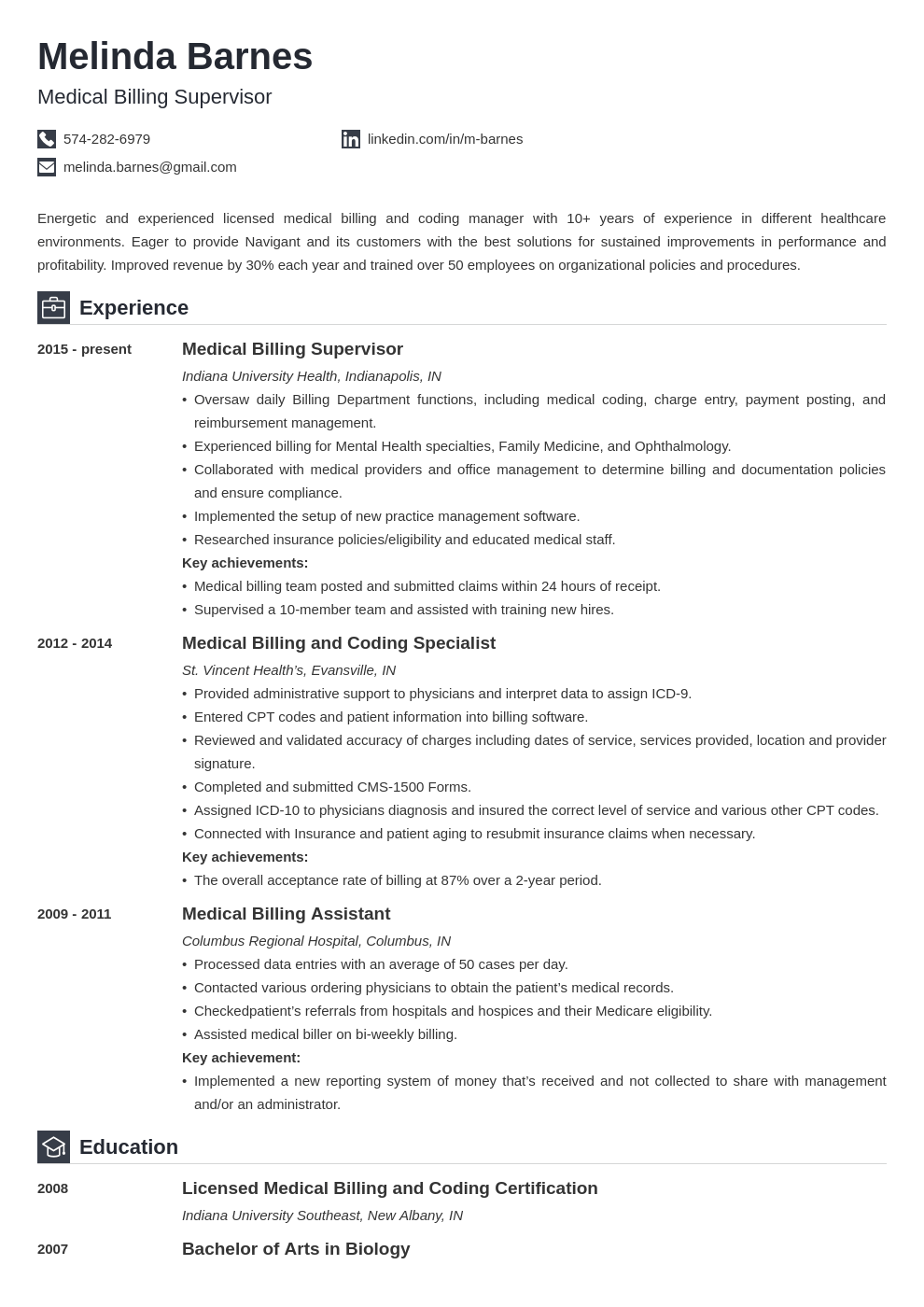 medical billing resume example template iconic