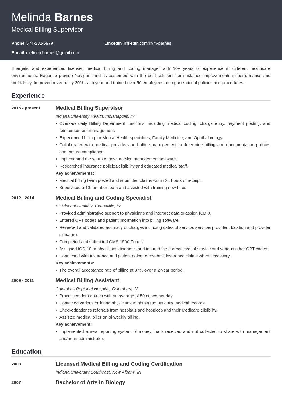 medical billing resume example template influx
